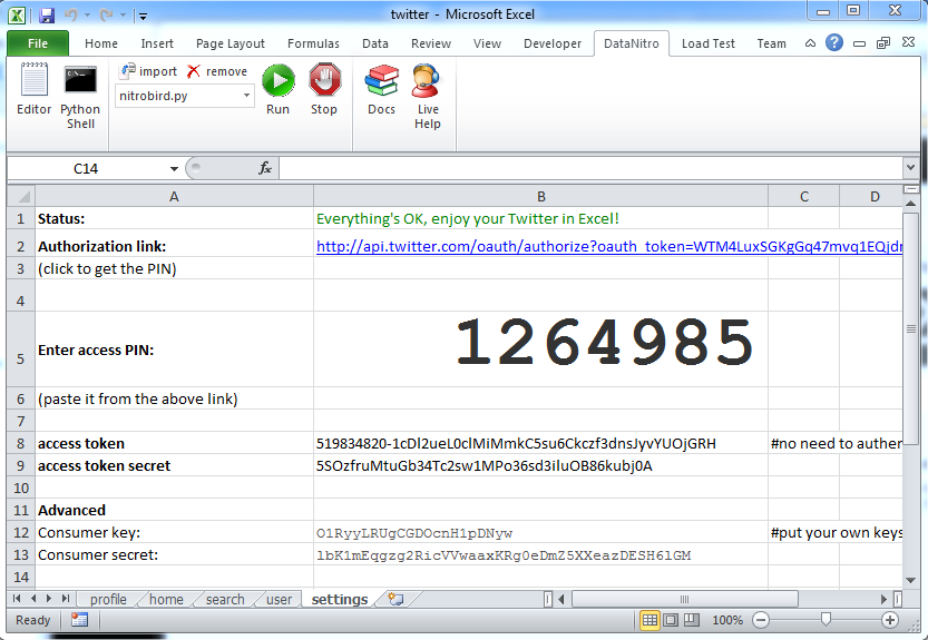 Twitter client for excel with python and datanitro victor you can now go the profile sheet to see your twitter profile your followers friends and past tweets after clicking the yellow tweet cell ibookread PDF